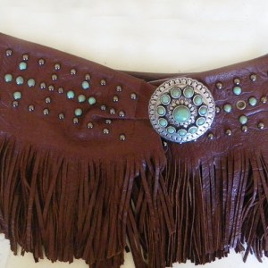Patricia Wolf Brown Turquoise, Fringed, Wrap Belt