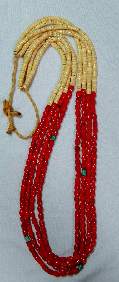 Santo Domingo Coral Bead Necklace/sinew tie