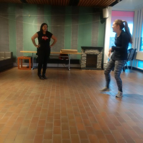 Erica Wilson and Johanna Burdon checking out the performance space at The Hive