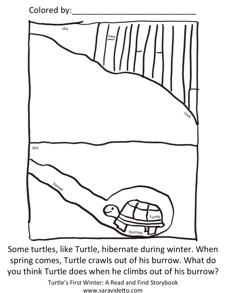 Turtle End Hibernation Coloring Page BW with Text