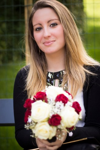 15. A girl holding her friend's wedding bouquet (who said that ony the bride is pretty?) (Buttes Chaumont)