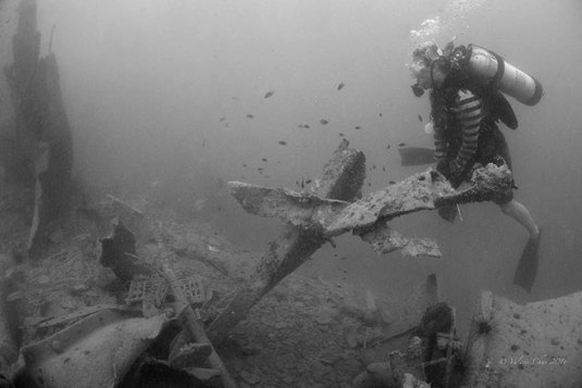 """A diver surveys a forlorn landscape of twisted metal structures, debris and rubble – all that is left of the WWII Japanese shipwreck Katori Maru after it was targeted by rogue metal salvag-ers last March"". Photo credit: diver Valerie Chai, published in Borneo Post article. http://www.theborneopost.com/2016/05/28/historical-wwii-shipwreck-destroyed-by-metal-salvagers/ - 28 May 2016."