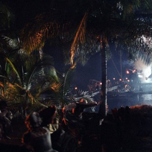 In the attack on Port Royal scene in Pirates of the Caribbean, many locations are used, but it's still just one scene. This excludes the scene where Elizabeth Swann is kidnapped by Pintel and Ragetti.