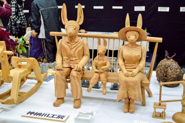 A wooden family of... rabbits?
