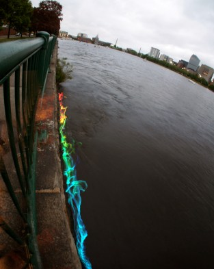 Combined thermal fishing bob tests at the Kendall Power Plant on the Charles River, Boston, 2014.