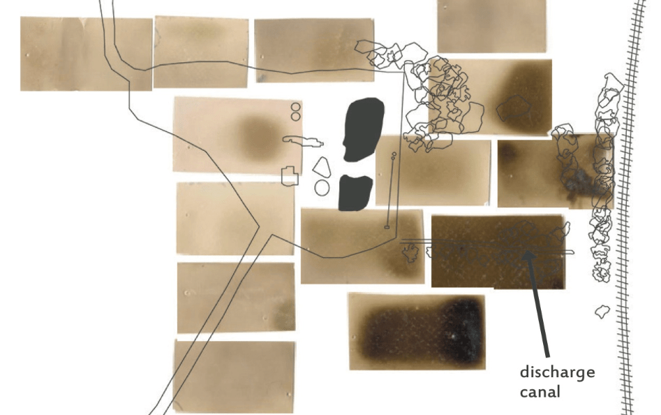 Detail of sensing paper over map of area, 2014.