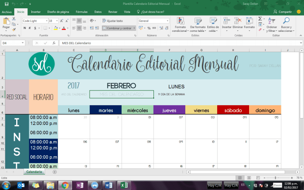 Calendario Editorial Mensual Descargable