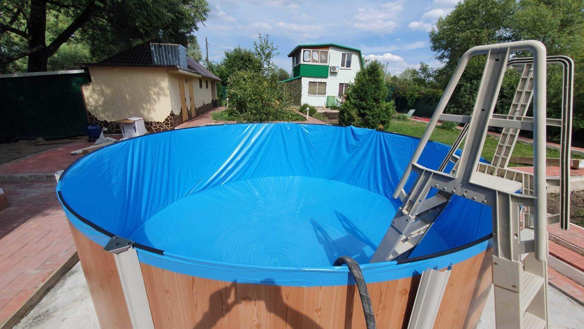 натягиваем пленку Atlantic pool круглый Esprit-Big