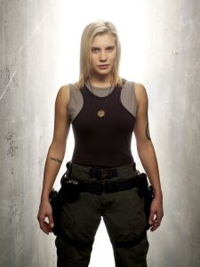 That is the face of a scoundrel, pure and simple. Plus, she could kick your ass without breaking a sweat. (Image courtesy of the Battlestar Galactica Wiki)