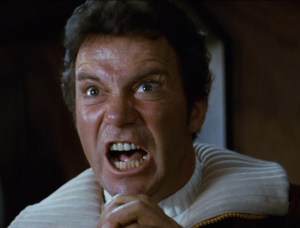 Seriously, I could only find still images of Kirk doing two things: screaming or looking disinterested. (Image courtesy of the Star Trek wiki)