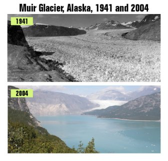 Muir Glacier in 1941 and 2004