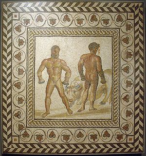 Boxing scene from the Aeneid (book 5), when th...