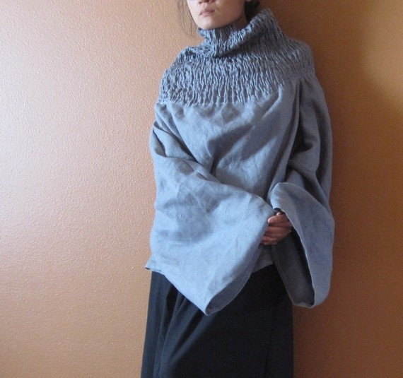 handmade to measure linen shirred turtle neck reversible top and dress   linenclothingbyanny