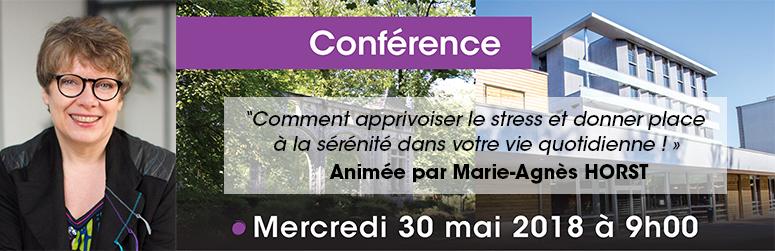 """Conférence « Comment apprivoiser le stress... """", 30 mai 2018"""