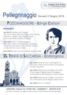 Locandina Pellegrinaggio in Sardegna 2016 – Foto di Sardegna Terra di Pace – Tutti i diritti riservati
