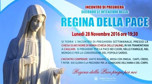 Locandina Incontro di Preghiera Settimanale del 28 Novembre 2016