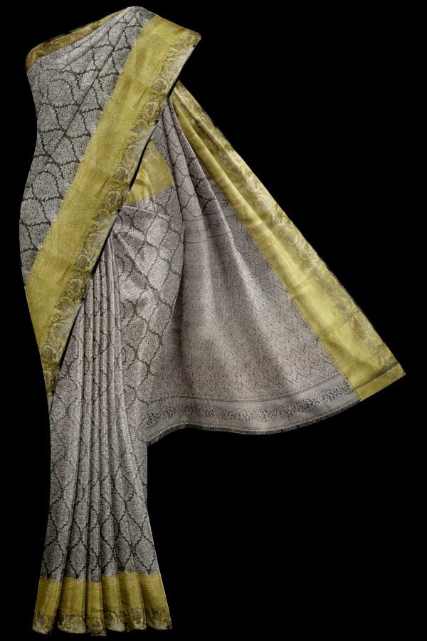 Grey Kanjivaram Saree Golden