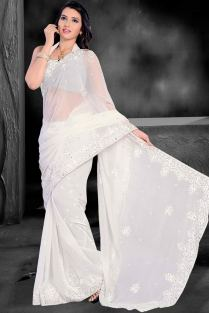 Off-white Chiffon Embroidered Party and Festival Saree