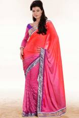 Coral Red and Cerise Pink Moss Embroidered Party and Festival Saree