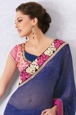 Sapphire Blue Chiffon Embroidered Party and Festival Saree