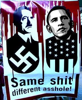Poster met Hitler en Obama en tekst Same Shit, different asshole