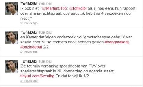 Tweets van Tofik Dibi over het PVV-rapport naar de toepassing van islamitische rechtsregels door Nederlandse rechtbanken