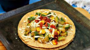 Vegetables taco with corn tortilla