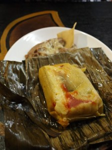 Tamal rajas with Queso Fresco