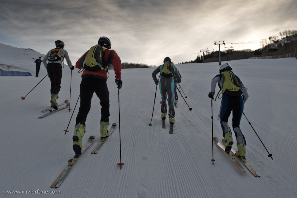 I had a good start getting into my bindings in the top group.  Photo by Xavier Fane.