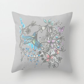 """Throw pillow cover, """"Hummingbird"""", 16x16,18x18,20x20 inches,home decoration,decorative pillow,indoor decoration,outdoor decoration"""