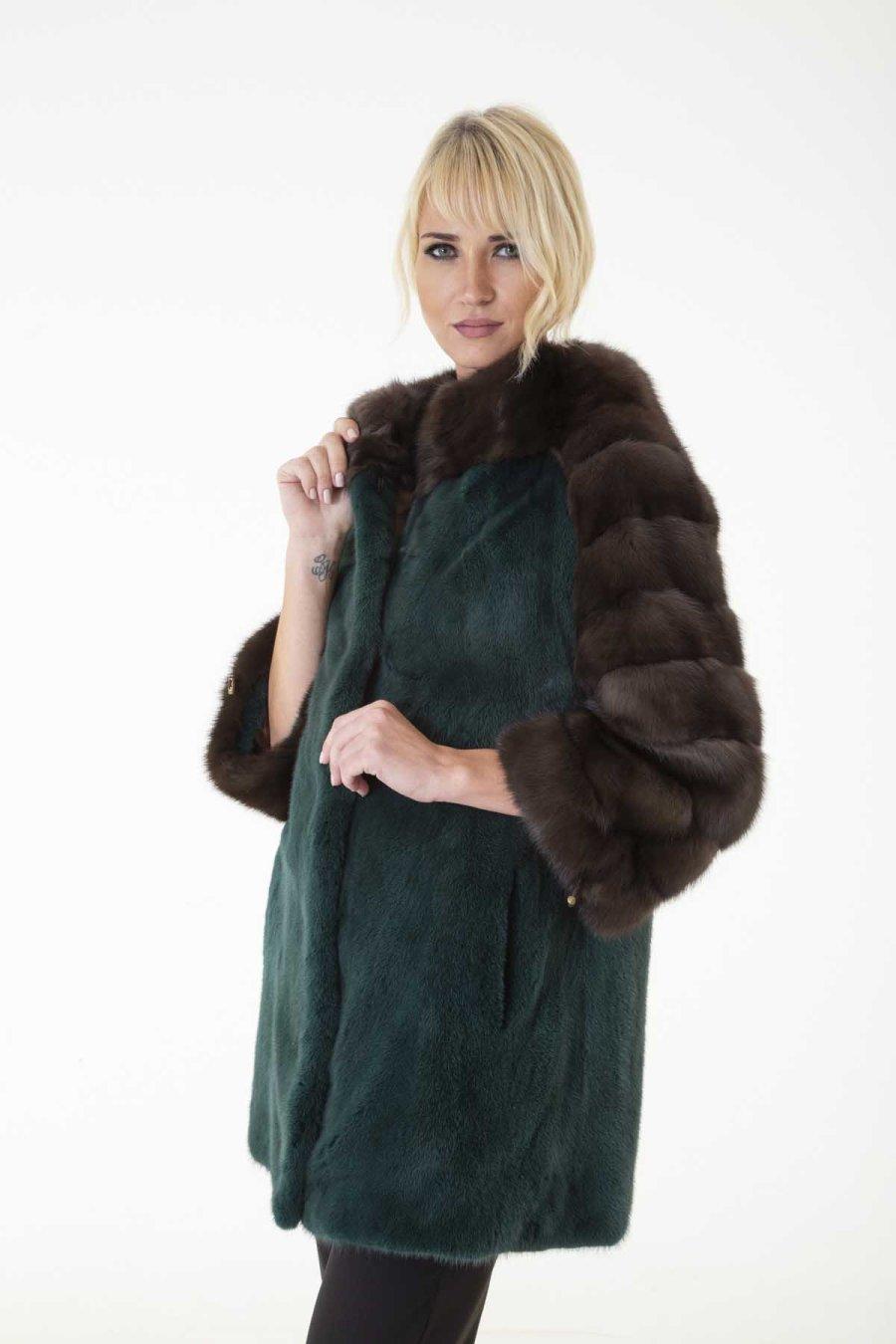 Shock Green Mink Fur Jacket | Пальто из меха норки цвета Shock Green - Sarigianni Furs