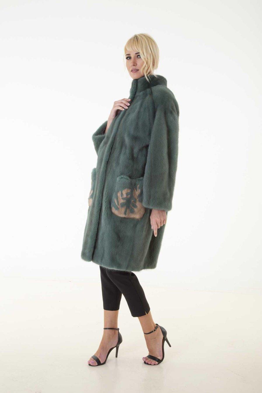 Green Mink Fur Jacket - pockets with terra drawing | Пальто из норки зелёного цвета – карманы с узором цвета терра - Sarigianni Furs