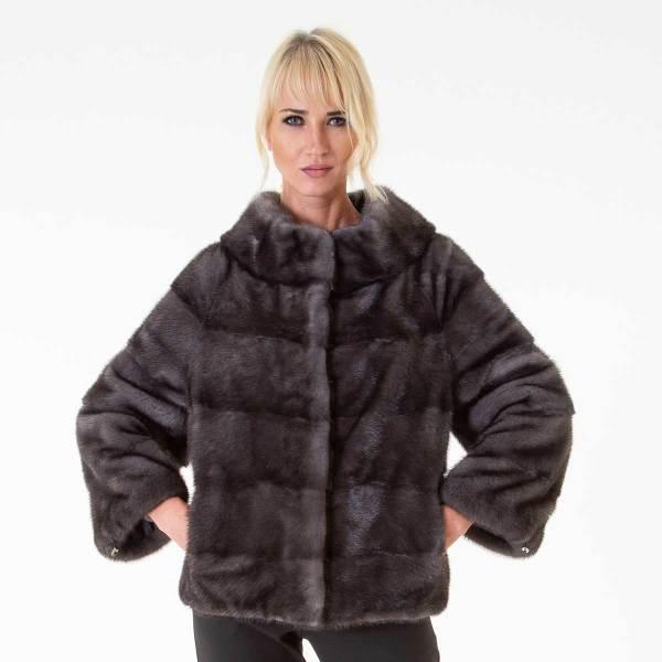 Пальто из меха норки цвета Блу Ирис | Sarigianni Furs