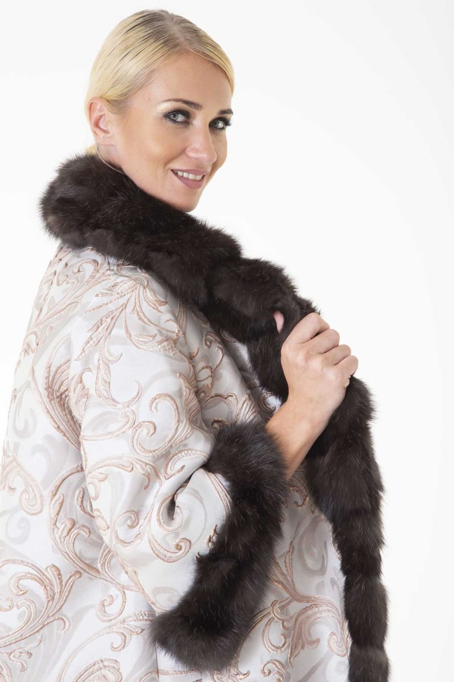 Dark Sable and Fabric Coat with short sleeves | Sarigianni Furs