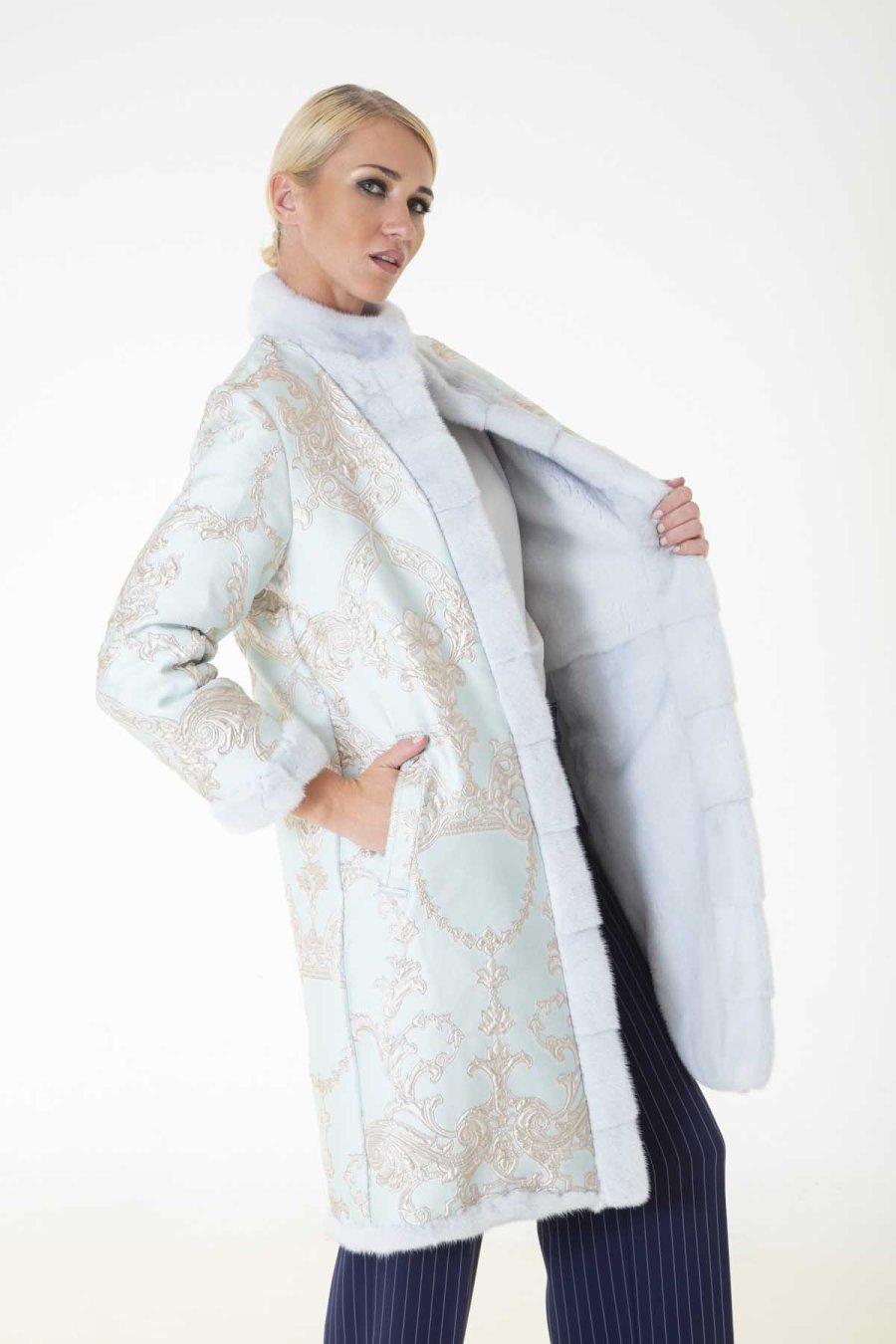 Verde Acqua Fabric and Female Mink Coat   Шуба из норки цвета Verde Acqua с внешней отделкой из ткани - Sarigianni Furs