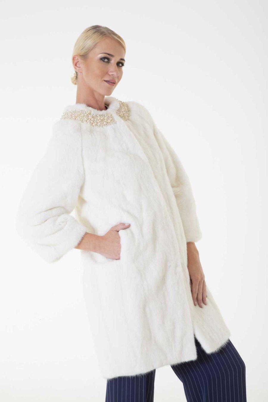 Pearl Male Mink Jacket | Пальто из меха норки жемчужного цвета - Sarigianni Furs