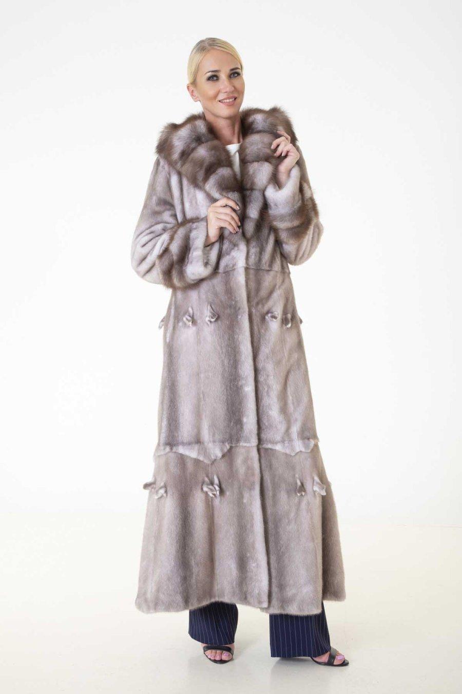 Ice Fume Female Mink Coat with Hood | Шуба из норки с капюшоном цвета Колотый Лёд - Sarigianni Furs