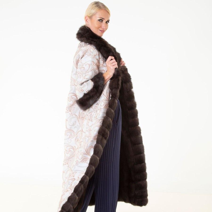 Dark Sable and Fabric Coat with short sleeves | Шуба из соболя тёмного цвета и ткани - Sarigianni Furs