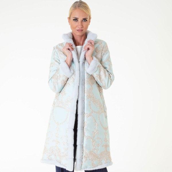 Verde Acqua Fabric and Female Mink Coat | Sarigianni Furs