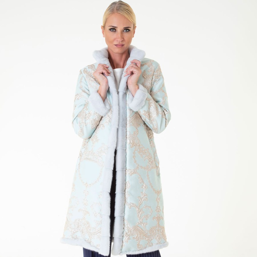 Verde Acqua Fabric and Female Mink Coat | Sarigianni Furs