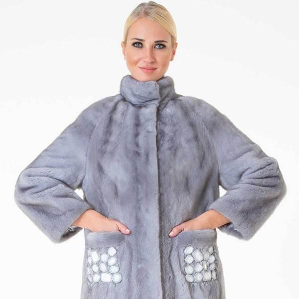 Sapphire Male Mink Jacket | Пальто из меха норки цвета сапфир - Sarigianni Furs