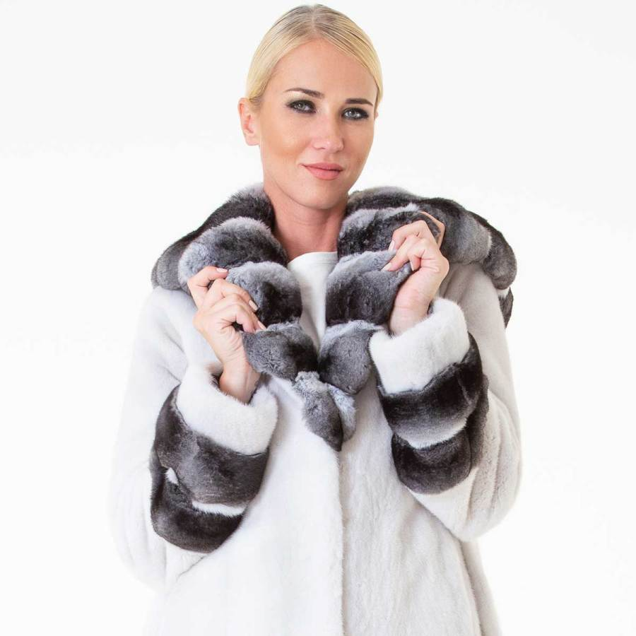 Aurora Violet Male Mink Jacket with Hood | Sarigianni Furs