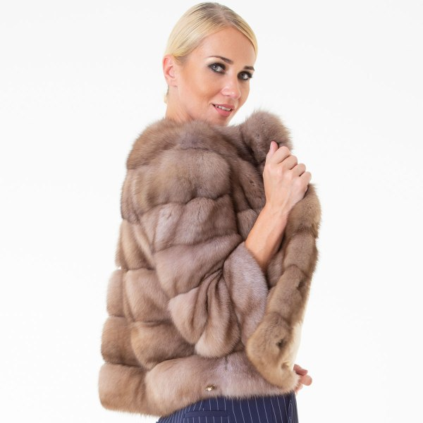 Tortora Sable Skin Jacket | Пальто из меха соболя цвета Tортора - Sarigianni Furs