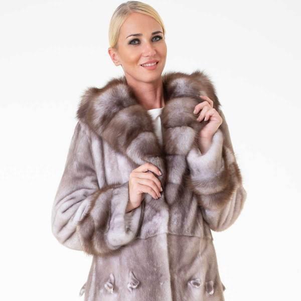 Ice Fume Female Mink Coat with Hood | Sarigianni Furs