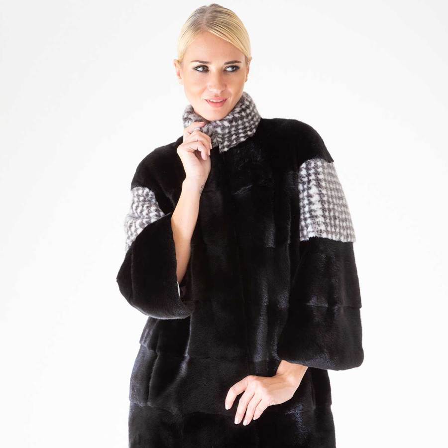 Blackglama Coat with Pied de poule print | Шуба из норки Blackglama с рисунком Pied de Poule - Sarigianni Furs
