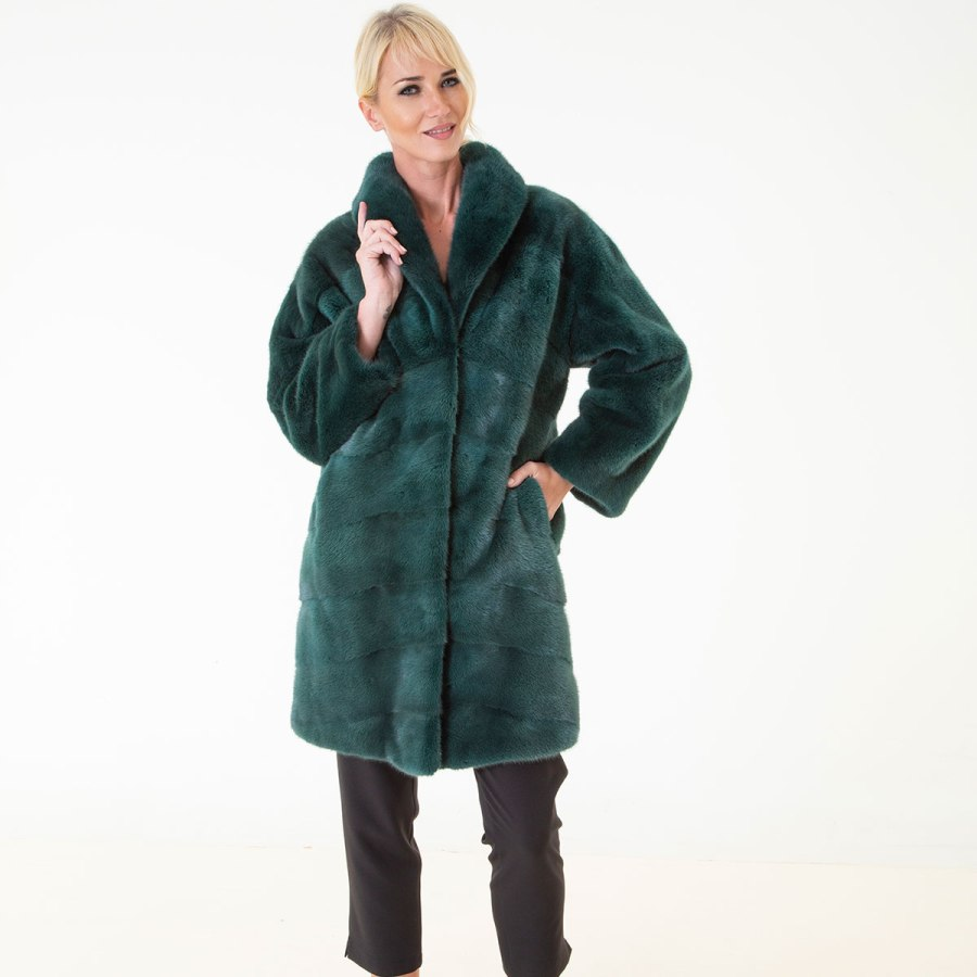 Shock Green Male Mink Farm Jacket | Пальто из меха норки – цвет Shock Green - Sarigianni Furs