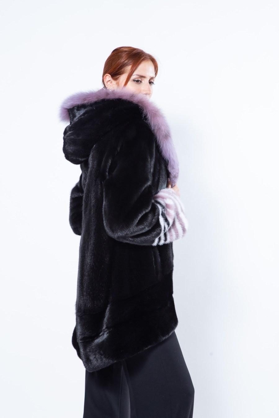 Aurora Black Mink Jacket with Hood | Sarigianni Furs
