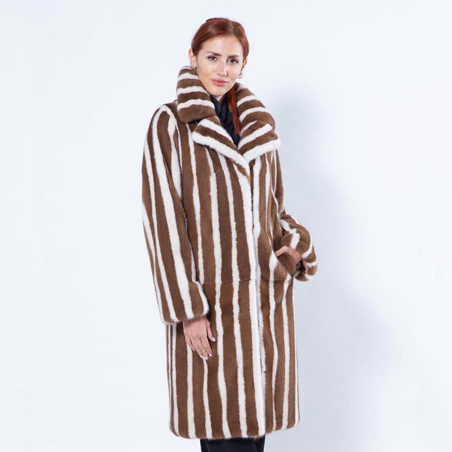 Pastel Striped Mink Coat | Шуба из меха норки цвета «пастель» с полосками - Sarigianni Furs