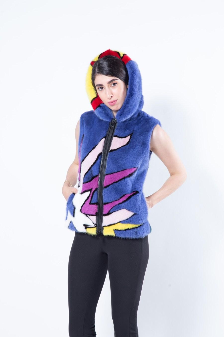 Multi-coloured Mink Vest with Hood | Sarigianni Furs