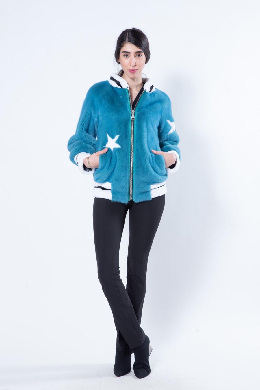 Teal Blue Mink Jacket | Пальто из меха норки цвета Teal Blue - Sarigianni Furs